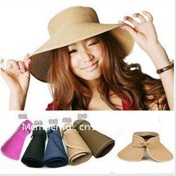Visor Adjustable beach hat with floppy brim foldable straw sun hat