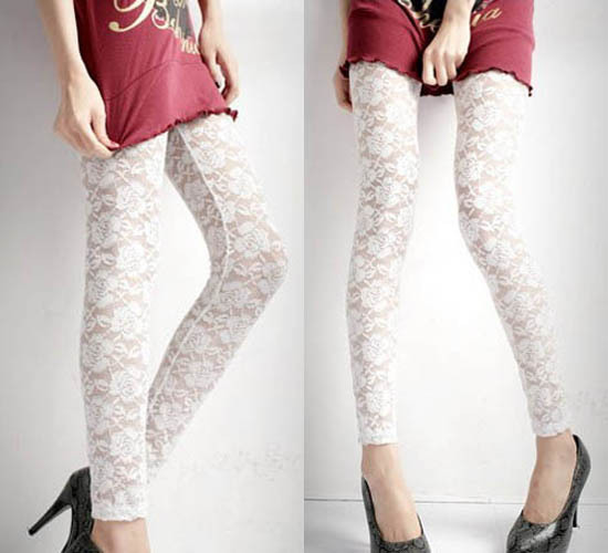 W20 Free shipping Fashion Sexy Charming Rose Lace See Through Leggings Pants White Footless Stockings
