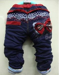 Warm children Crystal Flower Bowtie girls baby JEANS pants trousers 1-4years 100%COTTON Cute Best gifts