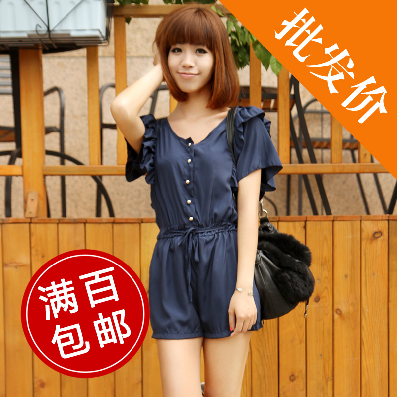 WB020 Women's clothes chiffon casual RUFFLESnavy style jumpsuit / soild color pants  free shipping