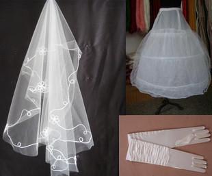 Wedding dress formal dress accessories piece set 1 meters 5 veil elastic long satin gloves gauze bustle