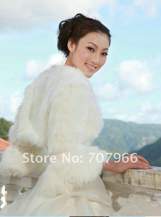 white FAUX FUR WEDDING BRIDAL WRAP/BRIDAL JACKET/SHAWL