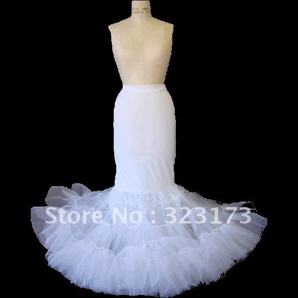 White Full Mermaid Trumpet Slip with Velcro Closure Wedding Bridal Petticoat