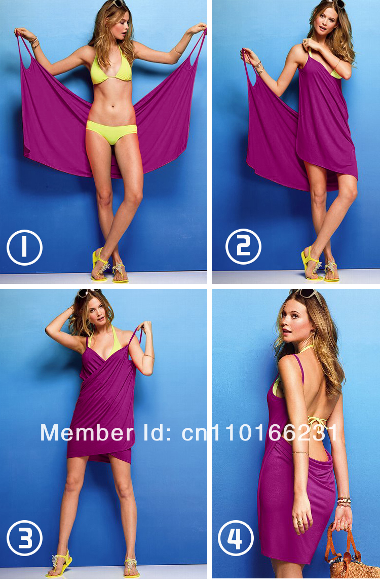 White New Sexy Women Open-Back Wrap Front Swimsuits Bikini Cover Up Beach Skirt Dress