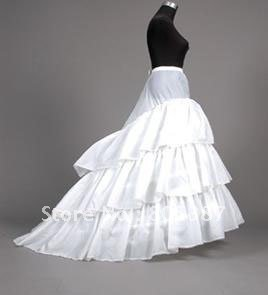 white satin Wedding patticoat with train in free shipping for wholesale price teep002