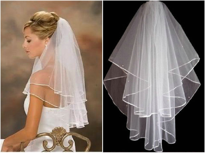 White Wedding & Formal Occasion Bridal Veil Accessories with comb Free Shipping