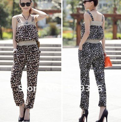 Wholesale 1pc/lot Fashion Women Ladies Summer Cotton Blends Spaghetti Strap Leopard Long Romper Jumpsuit 2 Colors Brown Grey