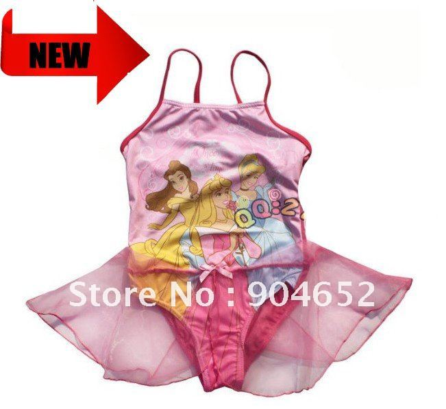 Wholesale 2012 branded baby girls one pieces princess swimsuit/ ballet dress chiffon skirt cover-ups girl cartoon swimming wear