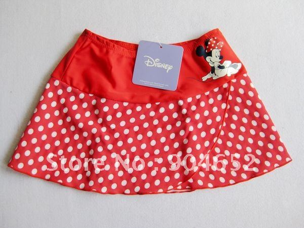 Wholesale 2012 branded girls Minnie Mouse swimming skirt red polka dot beach skirt very cute free shipping