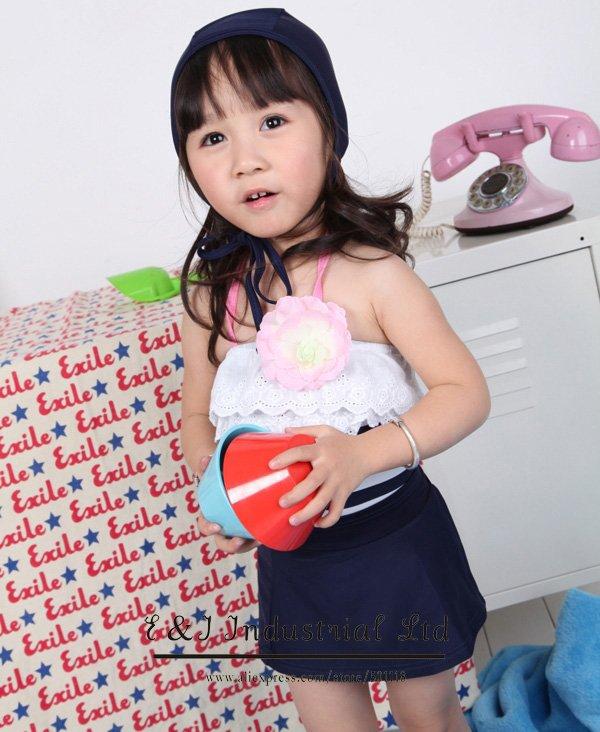 Wholesale - 2012 Kids Dark Blue Bikini Swimsuit For Girl With Hat Age:3-7Y Fashion Swimdress 5 pcs/lot CN-018