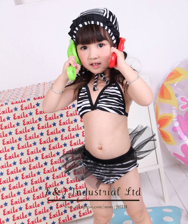 Wholesale - 2012 NEW ARRIVE! Baby Girl Bikini Suit Stripe Black Hat+Lace Bikini 3-7Y Kids Girl Swimwear Sample