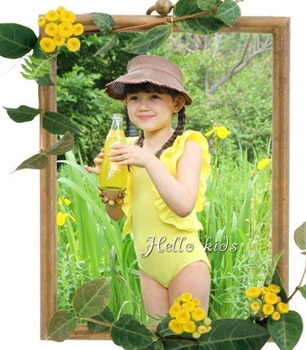 Wholesale - 2012 New Arrive Girl Fashion Yellow Swimwear One-PIece Bathing Suit Age:3-7Y Sampel Supported