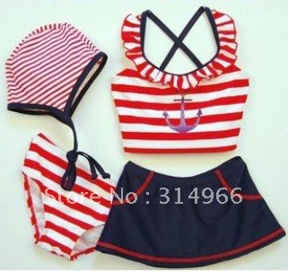 wholesale 2012 new arrive lovely girl`s four-piece swimming suit baby stripe sailor Swimwear skirt underwear with cap 5sets