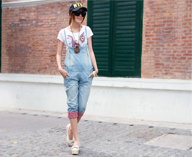 wholesale 2012 new rompers for ladies Fashion Floral Cuffed denim overalls Cropped Pants free shipping