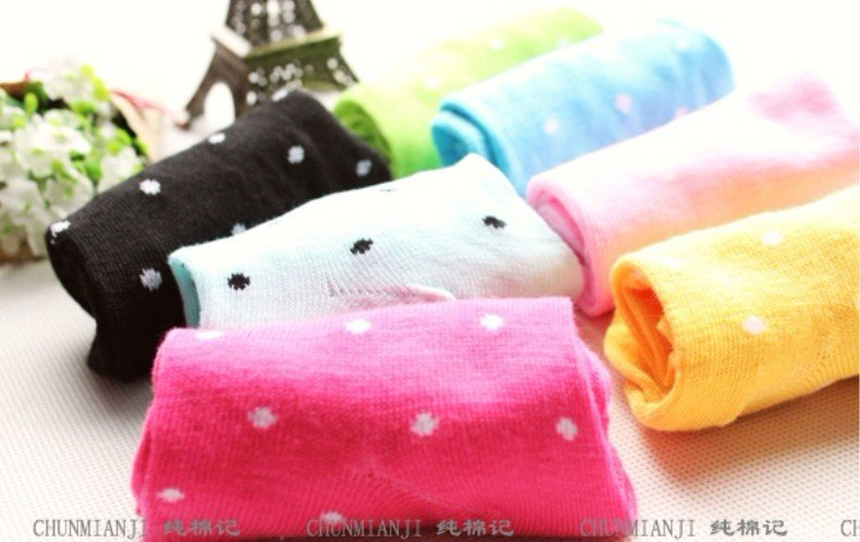 Wholesale 2012 Newest Women Cute Pure Candy Color Dot Short Sock Fit For 34-39 Yards Casual SOX 40pair/lot  Free Shipping