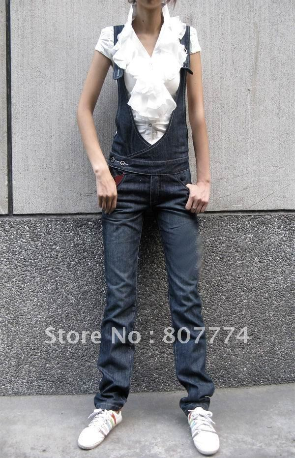 Wholesale 2012 Summer Women's Long Pant Denim Suspender Fashion Jumpsuit/Overall S-L Freeshipping