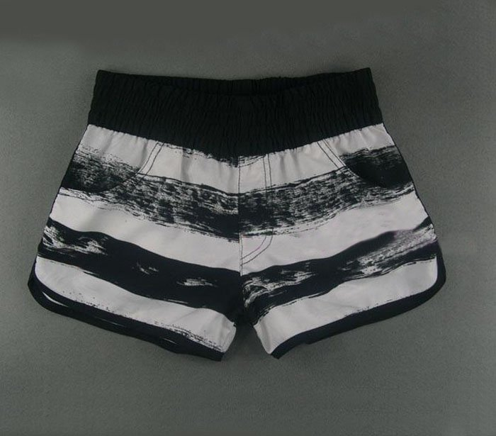 Wholesale 2012 women female lady gift Polyester material clothes Pant black white stripe High quality surf short +free shipping