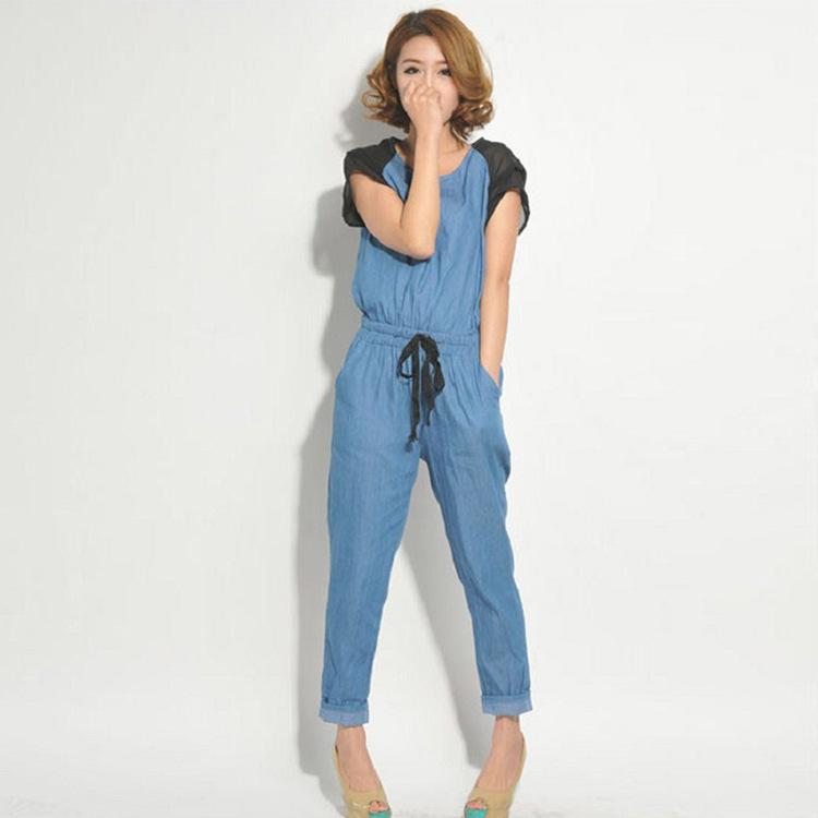 Wholesale 2013 Chiffon Short-sleeved Denim Jumpsuit Women 9213