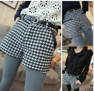 Wholesale 2013 Ladies New Spring Dogtooth Short Pants Design Patchwork Plus Large Shorts With Belt S-XXL Freeshipping