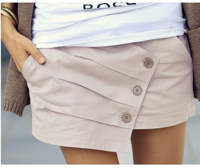 Wholesale 2013 Women Summer Pleated Short Hot Button Up Short pants Beach Skirt shorts S-L Freeshipping