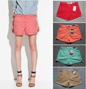 Wholesale 2013 Women Summer Pleated Short Hot Button Up Short pants Cotton Beach T-shirt Shorts SX8327 Free Shipping
