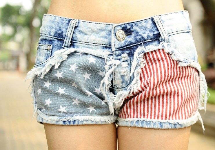Wholesale 20pcs  joker casual women Jeans short Flag star loose denim Jeans Shorts