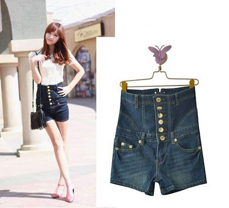 Wholesale 2pcs/lot  High waist NWT women jean Shorts, European Shorts, Blue Denim Pants, cheap jeans, Short Pants Free Shipping