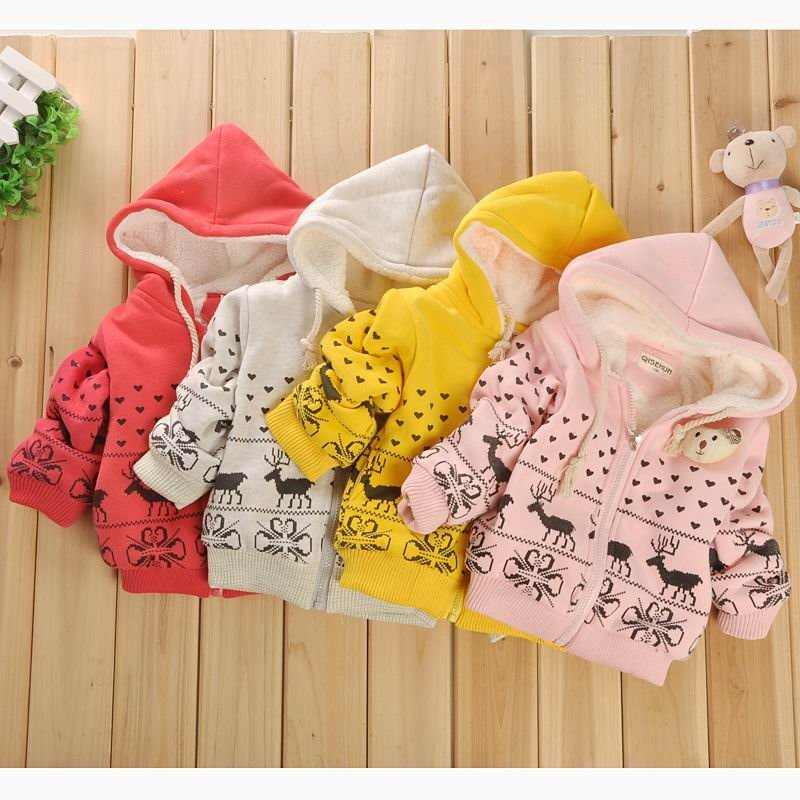 Wholesale 3 pieces/lot children winter clothing, cartoon deer cashmere coat(for 1~4 years) free shipping