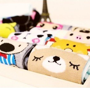 Wholesale 36pairs Cotton Blends Women Kawaii AB Cartoon Short Sock SOX Fit For 34-39 Yards Free Shipping