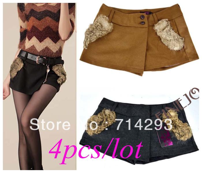Wholesale 4pcs/lot free shipping Sexy Women's Fur Pocket Zippered Woolen Shorts Pants Skirts Winter M L XL 9325