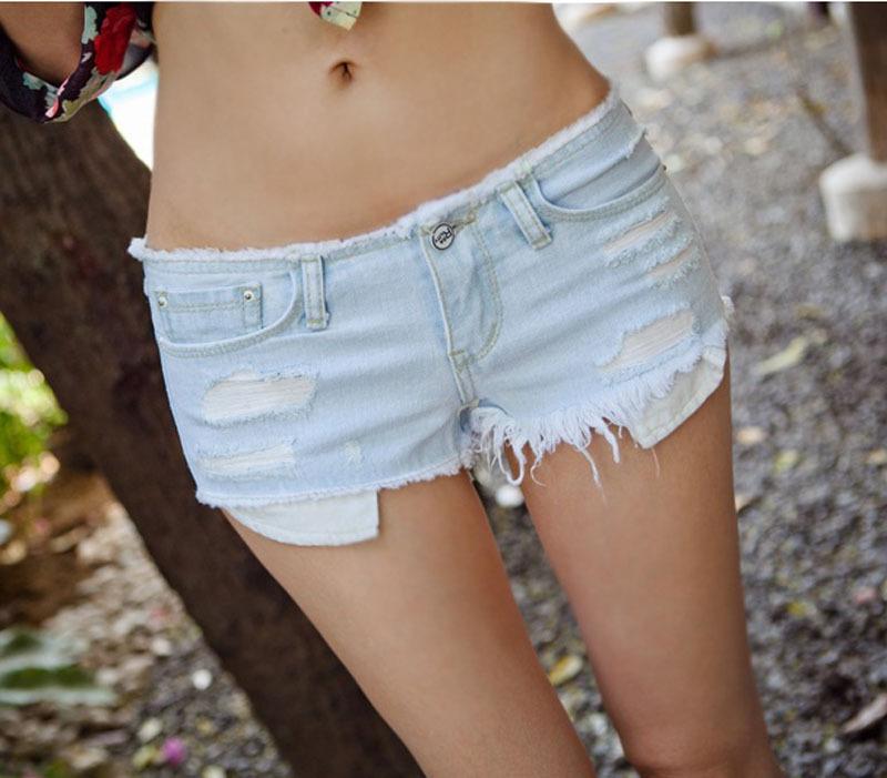Wholesale 5pcs/lot Women Jeans Shorts Sexy low waist Hole Denim Women Short Pants Wor Hole Mini shorts