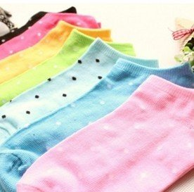 Wholesale 80pairs Women Cute Pure Candy Color Dot  Short Sock Casual SOX Free Shipping