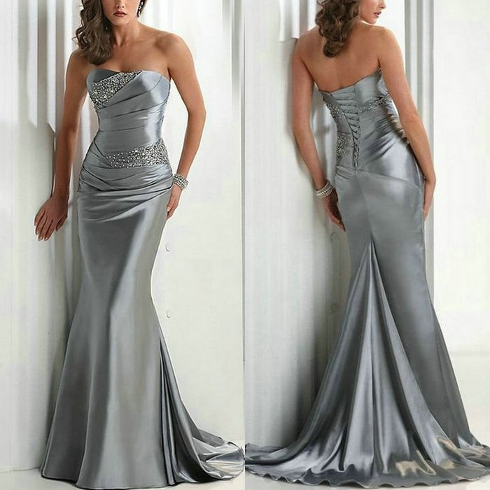 Wholesale and Retail Best Selling Silver Elastic Satin Prom Dresses 2012 Mermaid