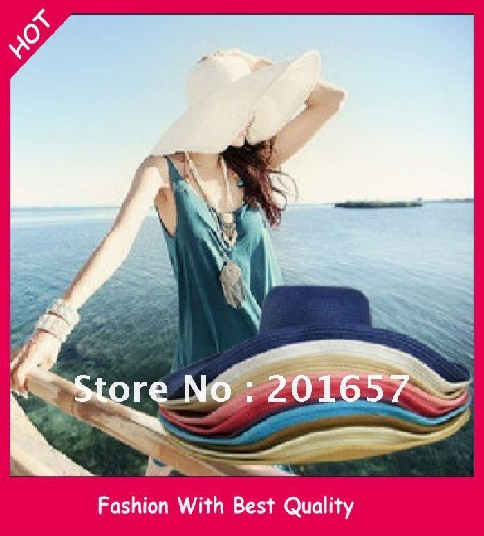 Wholesale and Retail Fashion Women Wide Large Brim Floppy Fold Summer Beach Sun Straw Hat Cap Free Shipping