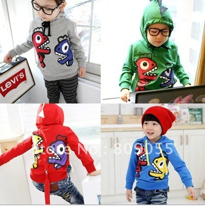 Wholesale - B2W2 Girl's boy's Hooded sweater outerwear autumn Dinosaur Sweater Tail jacket Girl's Sweater 4color