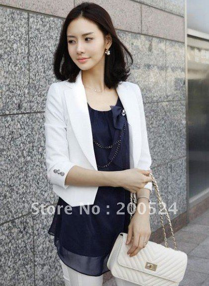 Wholesale Blazer jacket outerwear,Air-conditioned shirt Brooch blazer,suit,three-quarter sleeve white,black,orange&Free shipping