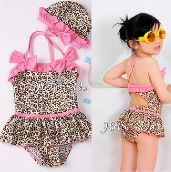 Wholesale - Fashion Leopard Kids Girl Swimwear Children Swimsuit Hat+Bikini Age:7-10T Childrens Girl Swimwear