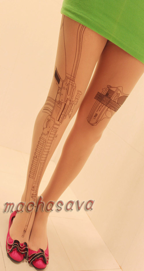 Wholesale Fashion Machine Gun Transparent Tattoo Tights Leggings Pantyhose Stockings