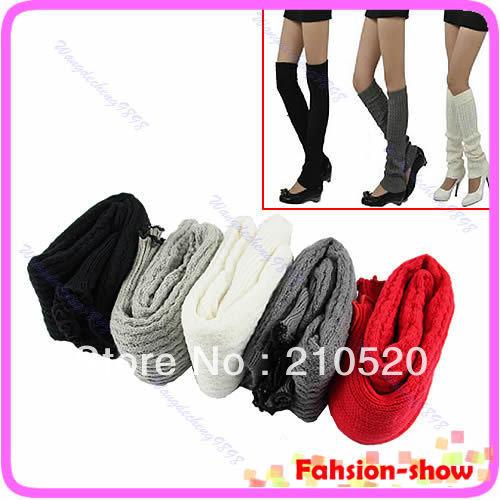 Wholesale Fashion Women's Knit Stocking Ladies' Stripe Crochet Leg Winter Warmer Legging Long Socks