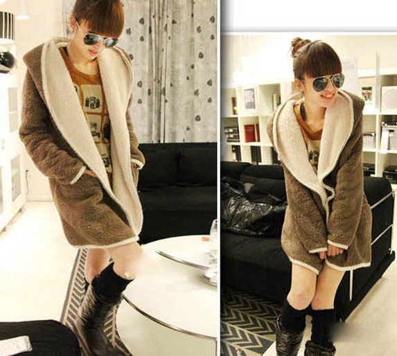 Wholesale Flax pregnant women coat long paragraph on both sides can wear thicker hooded jacket cardigan warm
