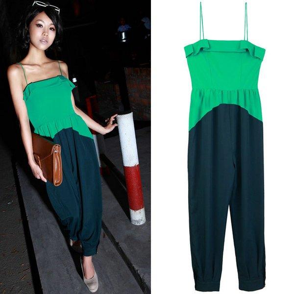 Wholesale-Free shipping 2012 Hot selling newest women Classic fashion stitching jumpsuit