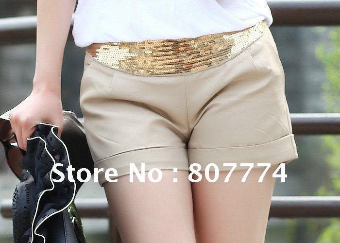 Wholesale Free shipping 2012 New women sequin short low waist four colors hot shorts S/M/L/XL Promotion