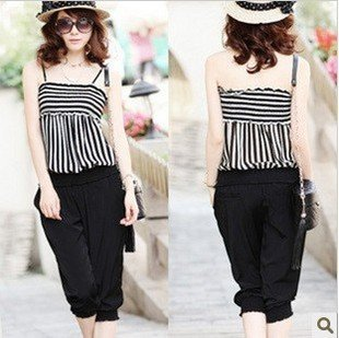 Wholesale + Free Shipping   6855 # 2012 new personality Ms. black and white striped suspenders piece pants