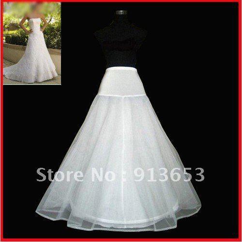 Wholesale - Free shipping Best Selling White A-Line Petticoat Bridal Petticoat Crinoline 1 hoop 2layer net Slips
