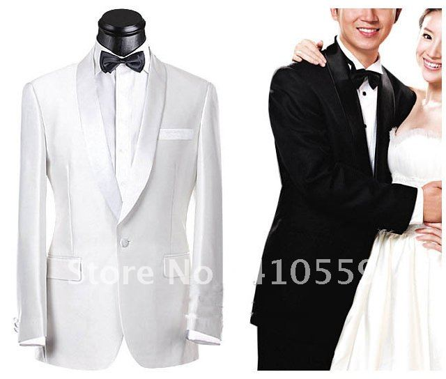 Wholesale Free shipping custom made ivory silk bright Groom Tuxedos Wedding Groomsman Suits ( Jacket + Pants +bowties )