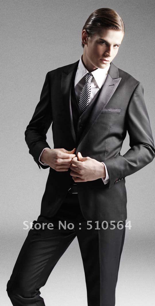 Wholesale Free shipping custom made men suit High quality Tuxedos Wedding Groomsman Bridegroom Suits ( Jacket + Pants + vest )