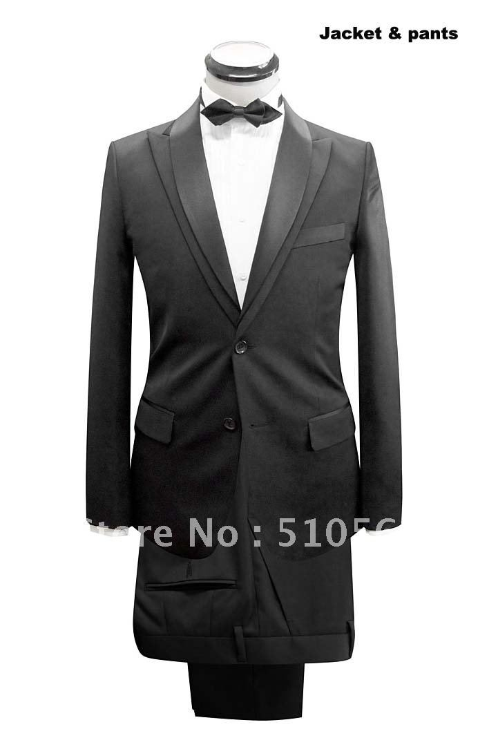 Wholesale Free shipping custom made men tuxedos high quality wool design collar Tuxedos Suit Groom Ceremony Party Men Suit