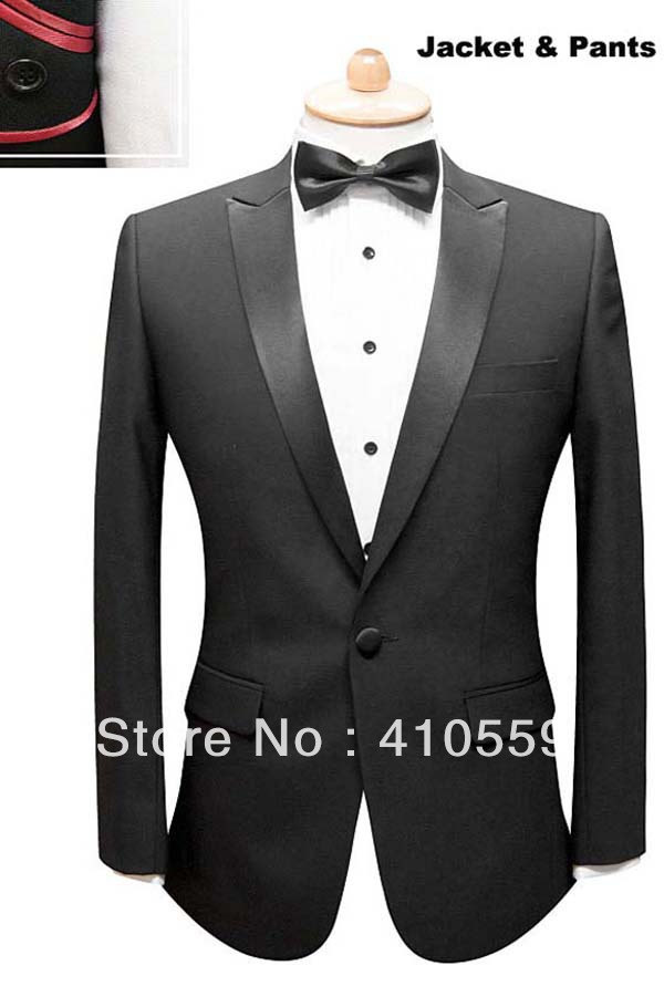 Wholesale Free shipping custom made wool one button men tuxedos Ceremony Evening Party Groom men Suit (jacket+pants)
