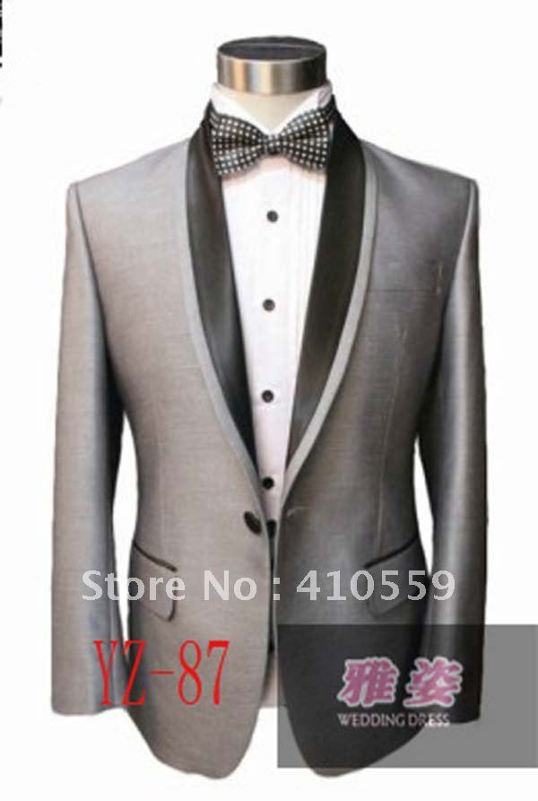 Wholesale Free shipping Design Groom Silk & polyester Tuxedos Wedding Men Bridegroom Suits bright Gray Suit(jacket +pants)