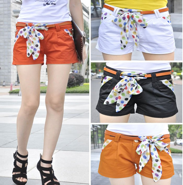 Wholesale! Free Shipping Fashion Sexy Slim Shorts for Women, Causal Wear, Hot Pants, Leisure Shorts with Ribbon Belt BK1917SK